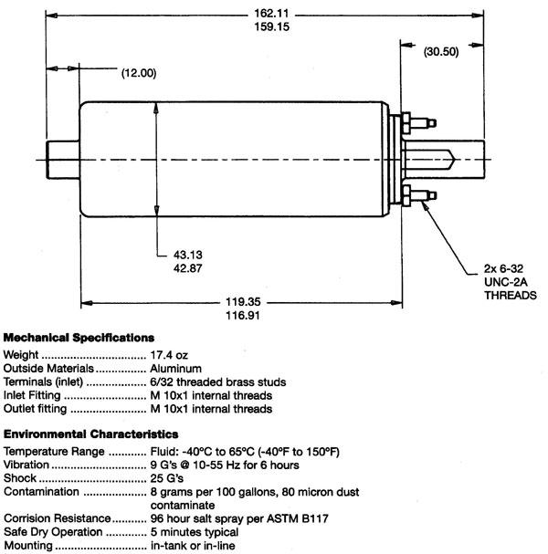 GSL392 Specs Walbro Fuel Pump