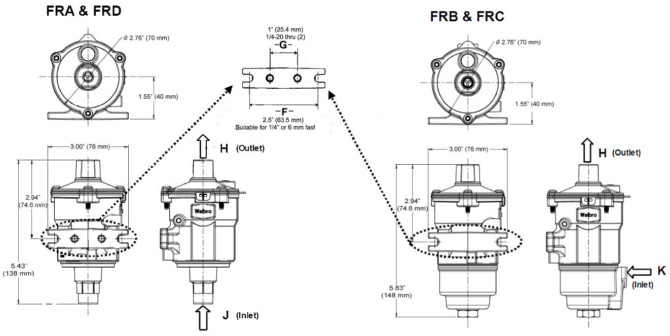 walbro marine  industrial reciprocating fuel pumps